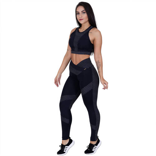 Legging Fitness Supplex Texturizado Recorte Cós Transpassado Orbis