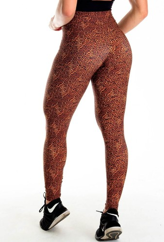 Calça legging Fitness Cós Ilhós Estampa Digital Animal Print Onça