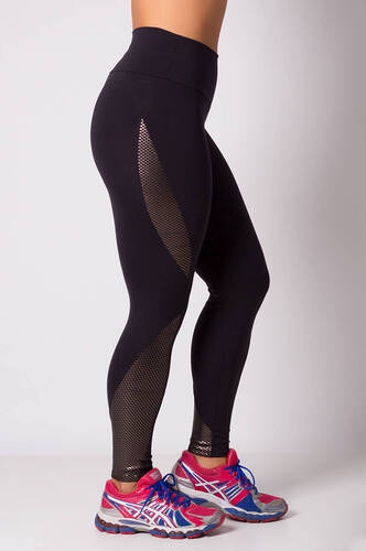 LEGGING FITNESS SUPPLEX PRETA POLIAMIDA COM BODYPRENE LAMINADO