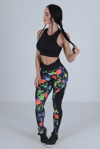Calça Legging Fitness Estampa Digital Caveira Neon
