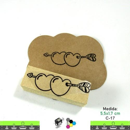 Carimbos Bonitos de Madeira, Coração 5,5x1,7 cm - C17