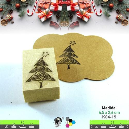 Carimbos Bonitos de Madeira, linha Artesanal Árvore de Natal com Estrela na Ponta - K04-15