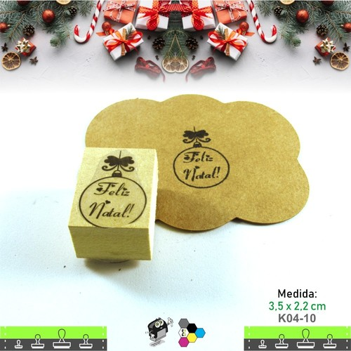 Carimbos Bonitos de Madeira, Linha Artesanal Natal Bola de Pinheirinho - K04-10