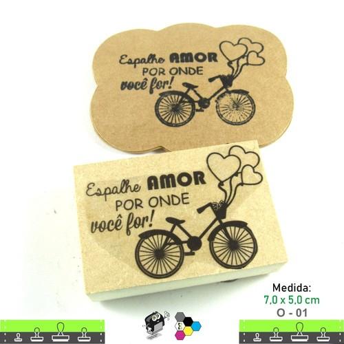 Carimbos Bonitos de Madeira, Linha Artesanal com Frase: Espalhe amor por onde você for - O01