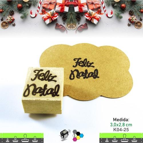 Carimbos Bonitos de Madeira, Linha Artesanal Feliz Natal - K04-25