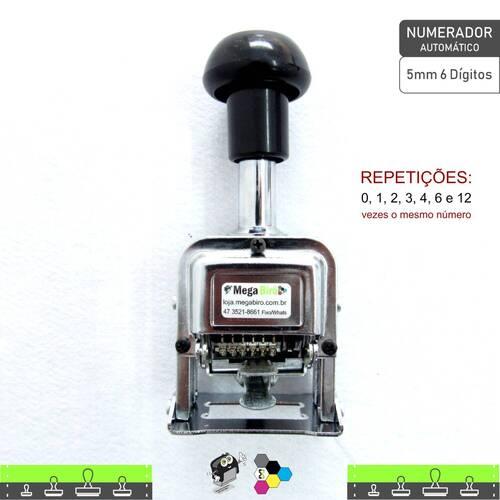Carimbo Numerador Sequencial Automático 5mm 6 dígitos