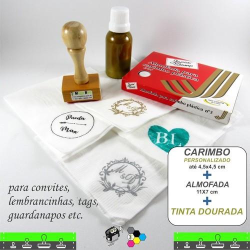 Kit - Carimbo + Tinta especial Dourada + Almofada de tinta