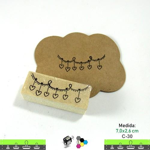Carimbos Bonitos de Madeira, Coração 7,0x2,6 cm - C30