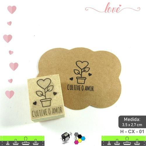 Carimbos Bonitos de Madeira, Linha Artesanal Cultive o Amor - HCX01