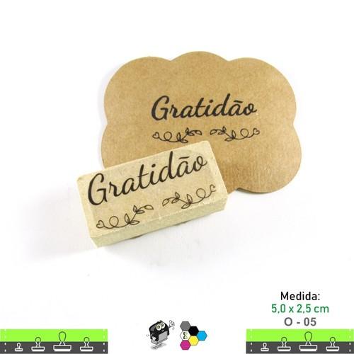 Carimbos Bonitos de Madeira, Linha Artesanal com Frase: Gratidão - O05