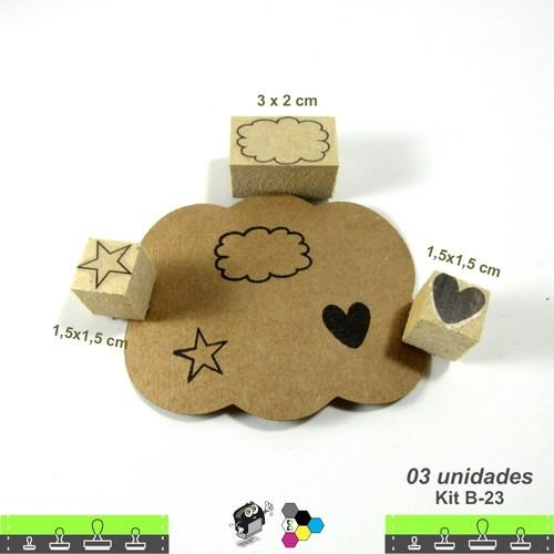 Carimbos Bonitos de Madeira, Kit com 03 Carimbos, Nuvem, Coração e estrela - B23