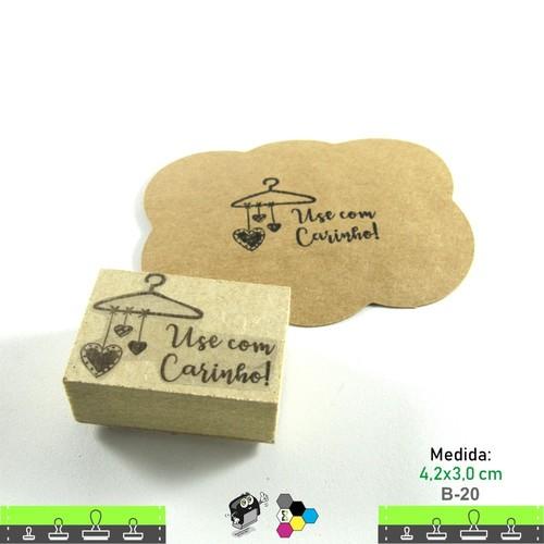 Carimbos Bonitos de Madeira, Linha Artesanal Use Com Carinho - B20
