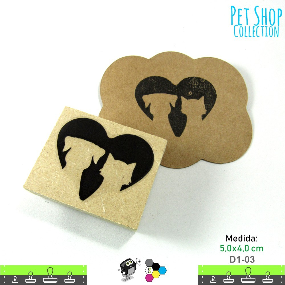 Carimbos Bonitos de Madeira, Amor de Cão e Gato - D1-03