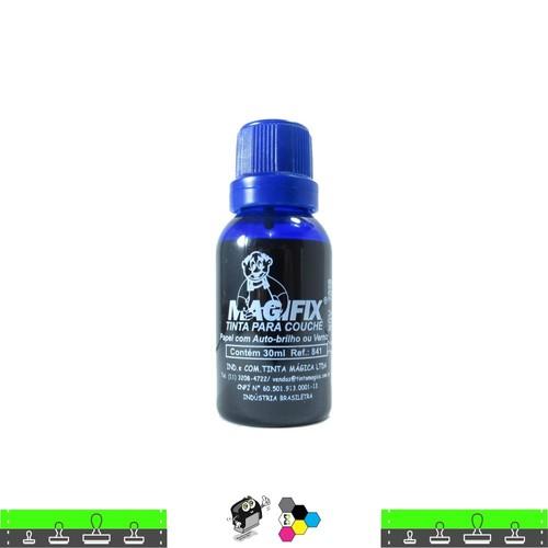 Tinta de Carimbo COUCHE AZUL seca em papel brilho e isopor