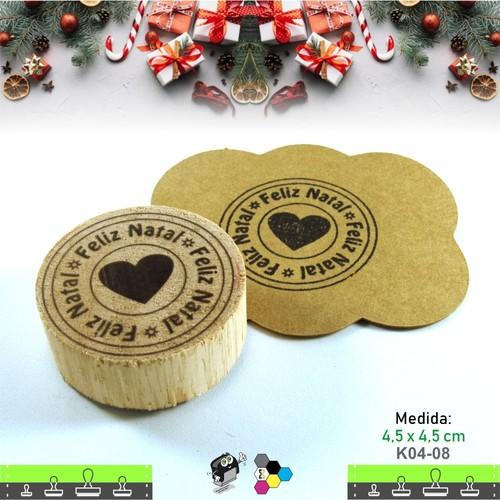 Carimbos Bonitos de Madeira, Linha Artesanal Selo de Natal com Coração - K04-08