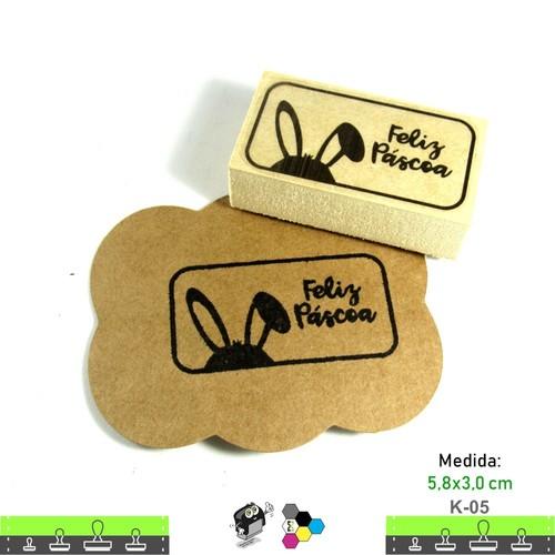 Carimbos Bonitos de Madeira, Feliz Páscoa - K05