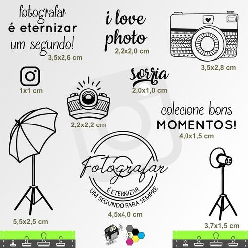 Carimbos Bonitos de Madeira, Linha Artesanal, Kit 10 Carimbos para Fotógrafos