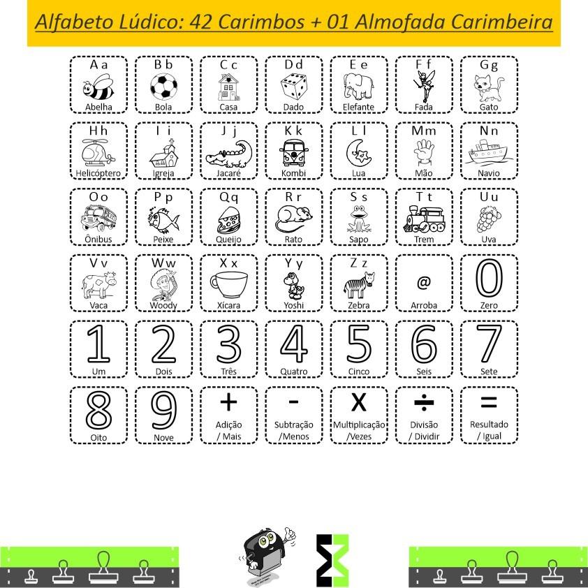 Kit Carimbos Alfabeto Ilustrado Lúdico