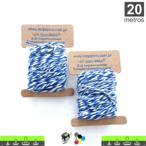 Cordão Twine Cotton Trançado para Tags - Azul