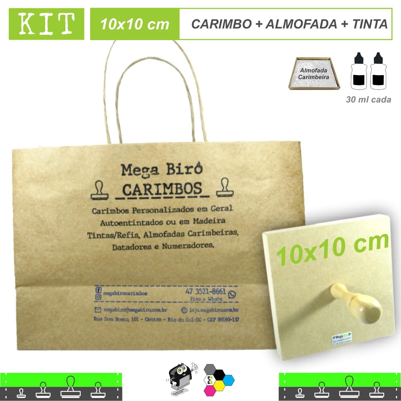 Kit Personalizar Sacolas Nº 3 - Carimbo + Almofada + Tinta