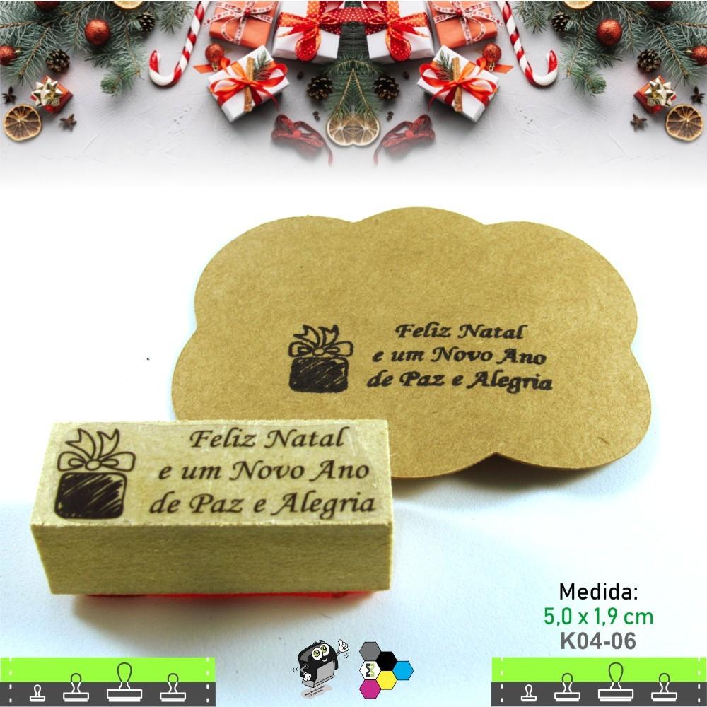 Carimbos Bonitos de Madeira, Linha Artesanal Caixa de Presente de Natal - K04-06