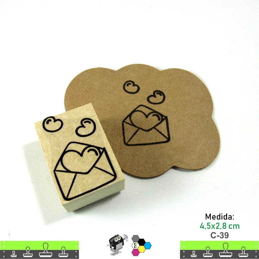 Carimbos Bonitos de Madeira, Coração 4,5x2,8 cm - C39