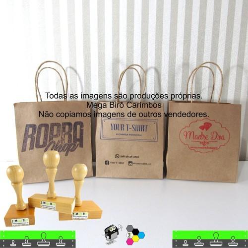 Kit Personalizar Sacolas Nº 4 - Carimbo + Almofada + Tinta