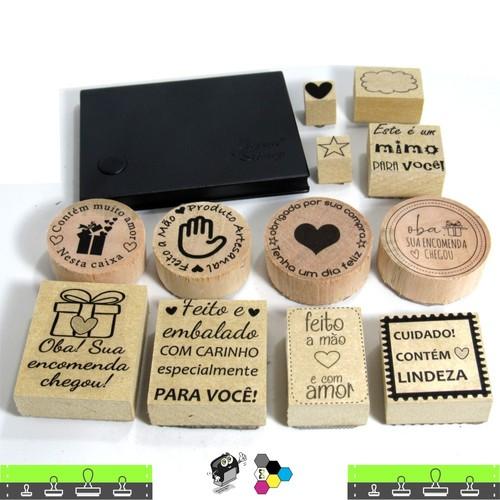 Kit 12 Carimbos Feito A Mão Feito Com Amor Oba Sua Encomenda Chegou + 01 almofada de tinta