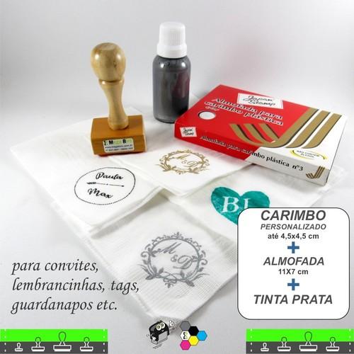 Kit - Carimbo + Tinta especial Prata + Almofada de tinta