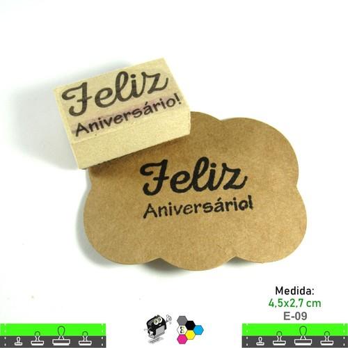 Carimbos Bonitos de Madeira, Feliz Aniversário - E09