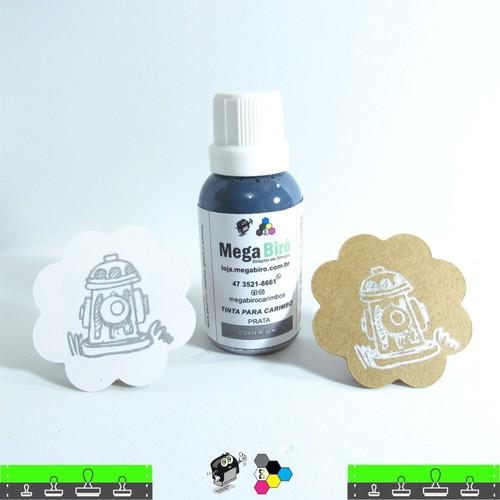 Tinta Prata para Carimbo - Especial com Brilho