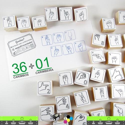 Kit Carimbos do Alfabeto Ilustrado com Linguagem de Sinais