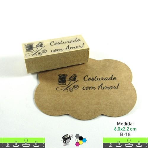Carimbos Bonitos de Madeira, Linha Artesanal Costurado com Amor - B18