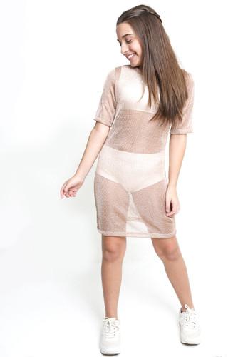 Vestido Malha Metal Rosê