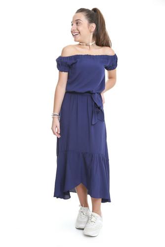 Vestido Midi Ciganinha Azul