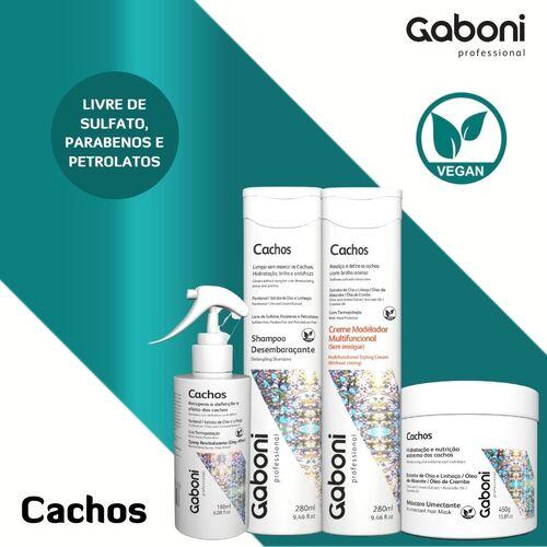 Gaboni KIT Novo Cachos Vegano (Shampoo+Creme+Masc.+Spray)