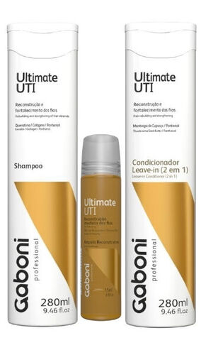 KIT Shampoo + Cond. Leave-in + Ampola Gaboni Ultimate UTI
