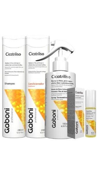 Kit Gaboni Cicatriliso (Spray + Shampoo + Condicionador+ Nova Máscara Líquida)