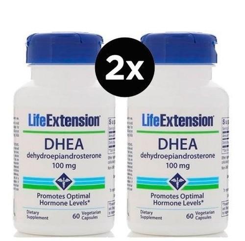 2 x DHEA 100 mg - Life Extension - Total 120 cápsulas - Frete Grátis