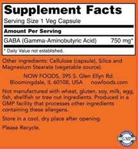 Gaba 750 mg - Now Foods - 100 cápsulas (Envio Internacional)