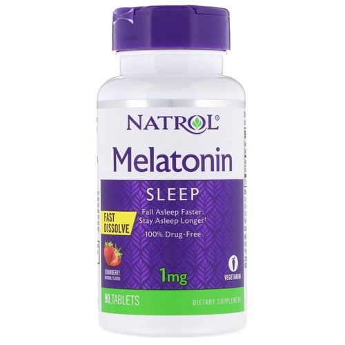 Melatonina 1 mg fast dissolve sublingual - Natrol - 90 tablets sabor Morango (hormônio do sono)
