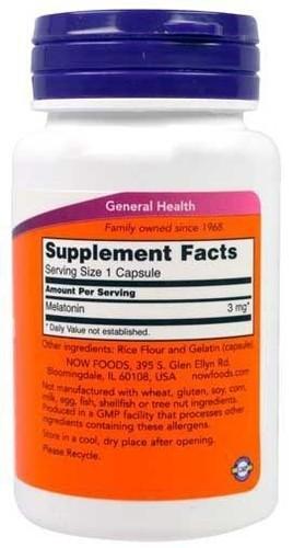 2 x Melatonina 3 mg - Now Foods - Total 120 Cápsulas (Envio Internacional)