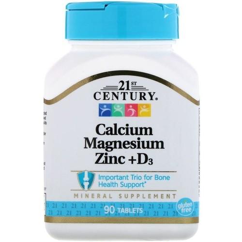 Cálcio - Magnézio - Zinco + Vitamina D3 - 21 st Century - 90 Tablets
