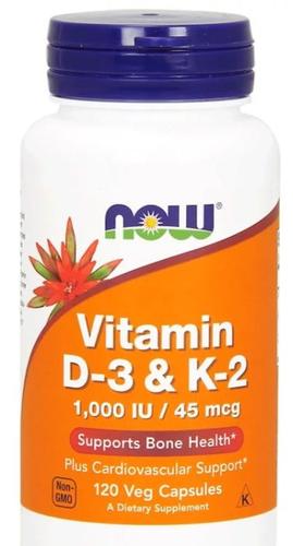 Vitamina D3 - k2 - Now Foods  - 120 Cápsuals