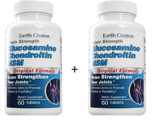 Kit 2 Glucosamina Condroitina e MSM - Earth Creation - Total 120 tablets