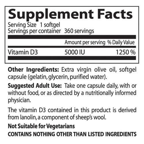 Vitamina D3 5.000 IU - Doctor´s Best - 360 softgels