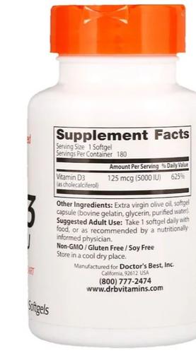 Vitamina D3 5.000 IU - Doctor´s Best - 180 softgels