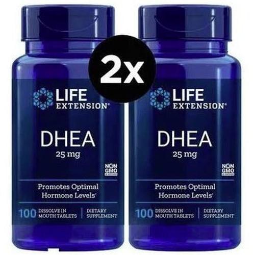 2 x DHEA 25 mg Sublingual -  Life Extension - Total 200 comprimidos