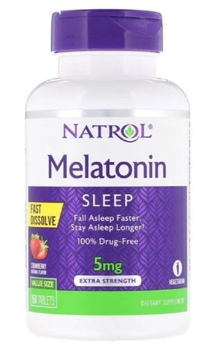 Melatonina 5 mg Fast Dissolve sublingual Sabor Morango - Natrol - 150 comprimidos - Frete Grátis