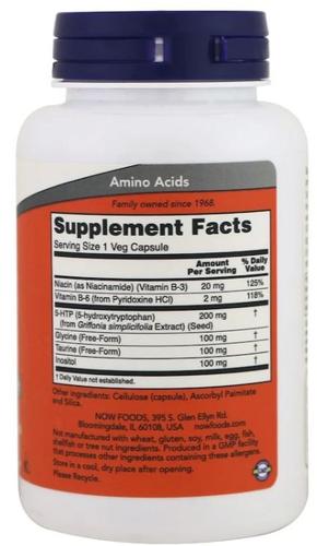 5-HTP 200 mg - Now Foods - 120 cápsulas de Liberação Rápida